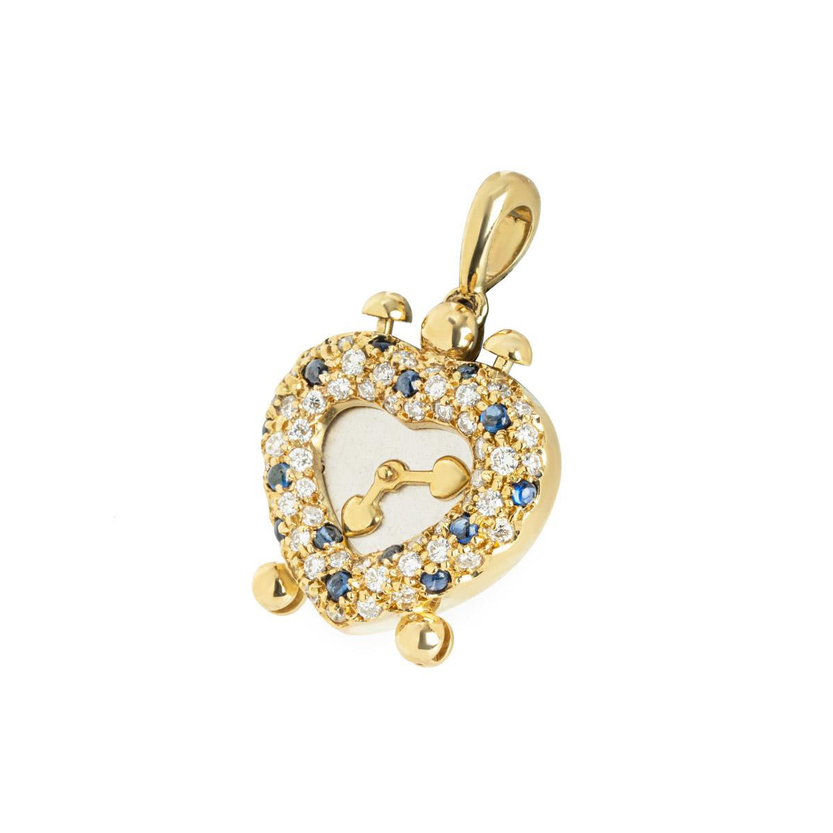 Yellow Gold Diamond and Sapphire Heart Clock Pendant